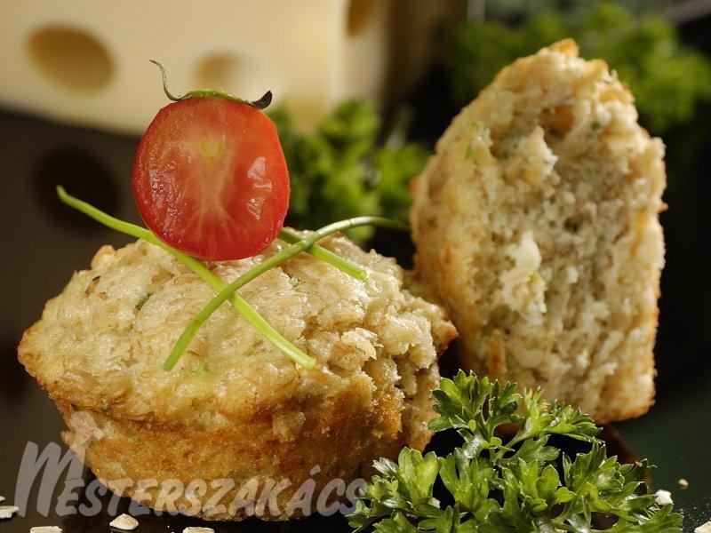 Sajtos, zabpelyhes muffin recept