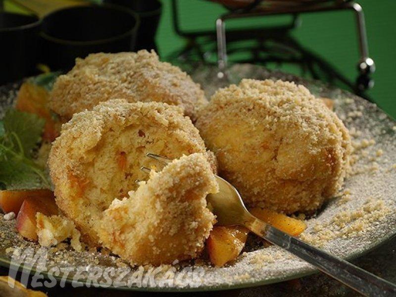 Sárgabarackos, morzsába forgatott muffin recept