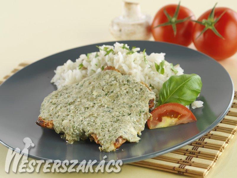 Sertéskaraj pikáns sajttal sütve recept