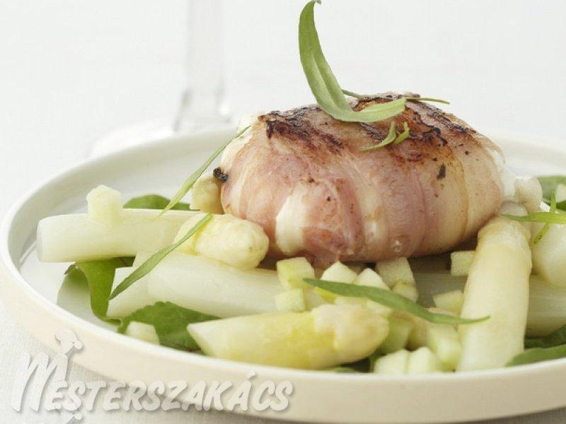 Spárgasaláta, zöld almával és grillezett kecskesajttal recept