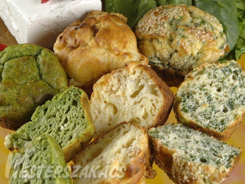 Spenótos és szalonnás, csilipaprikás muffin recept