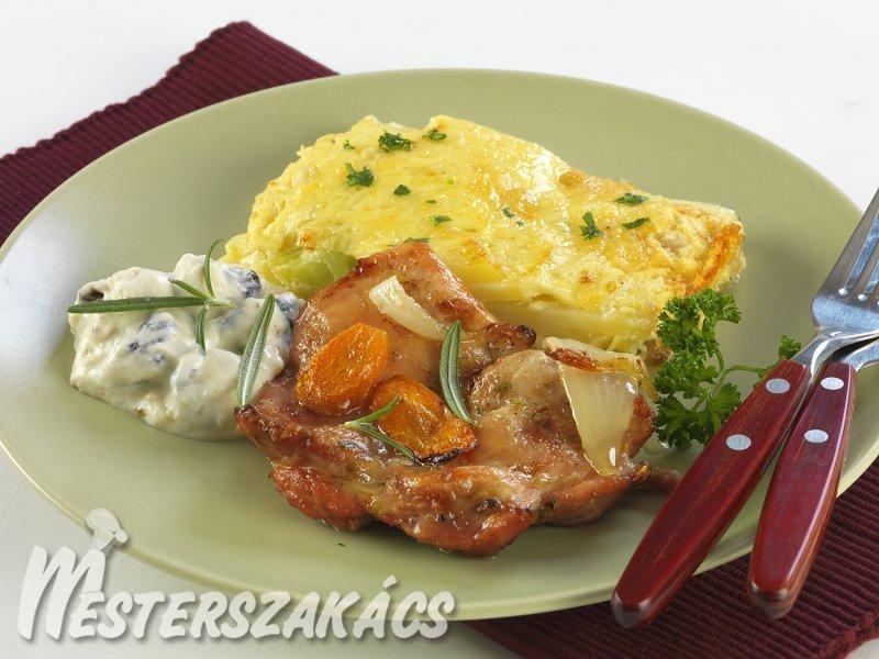 Sült csirke kucsmagombás-mártással és gratinírozott burgonyával recept