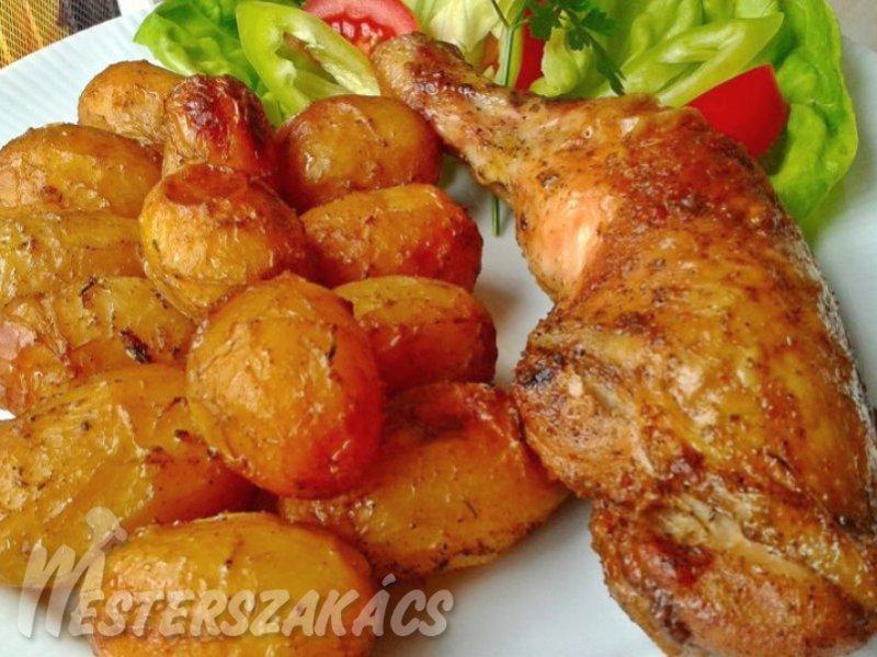 Sült csirkecombok tepsis újkrumplival recept