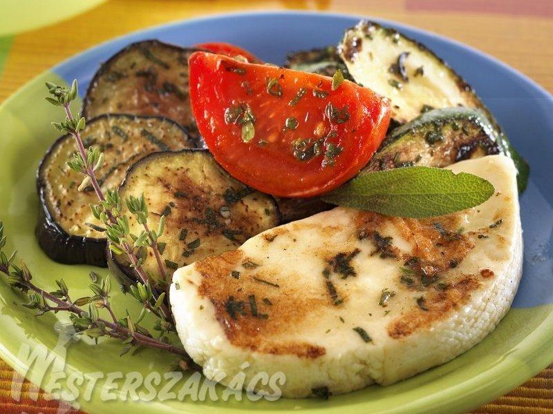 Sült-pácolt zöldségek grillezett gomolyával recept