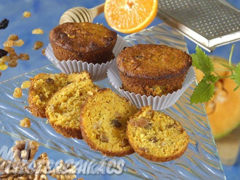 Sütőtökös, búzakorpás, mézes muffin recept