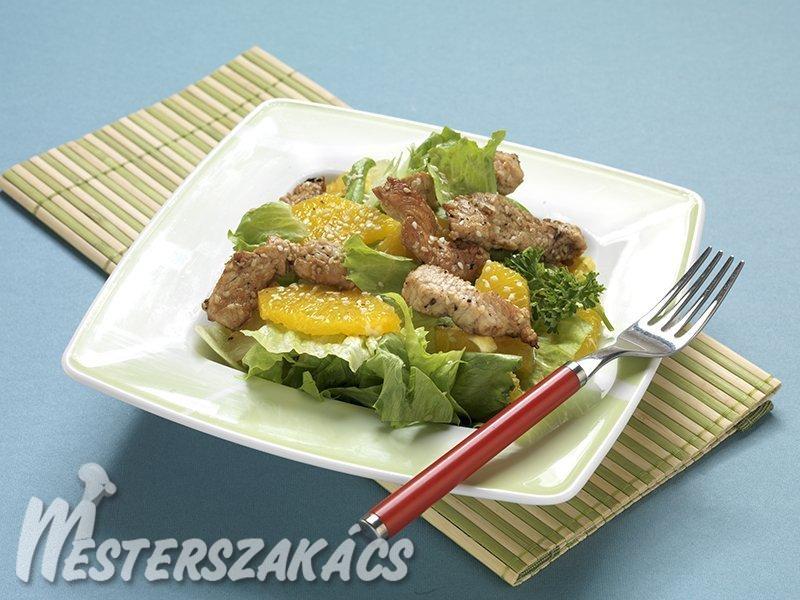 Szezámmagos pulykamell citrus salátával recept