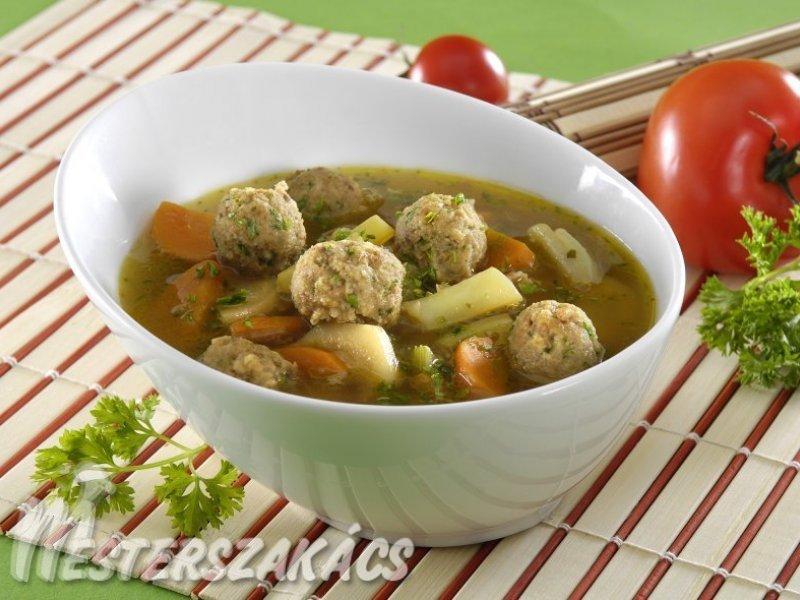 Tavaszi zöldségleves csirkemájgombóccal recept
