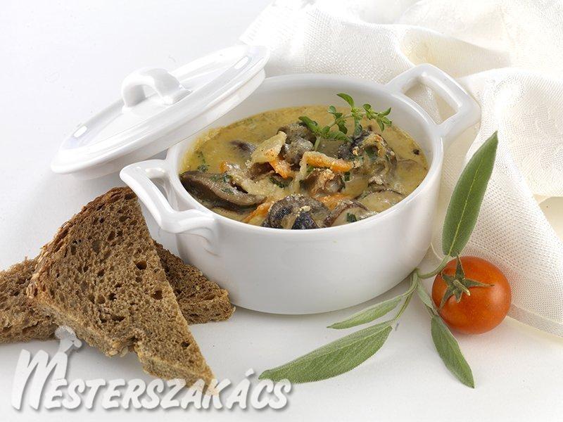 Tejszínes, zöldséges csigaragu sajttal sütve recept
