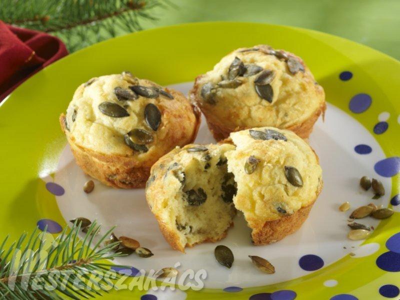 Tökmagos, sajtos muffin recept