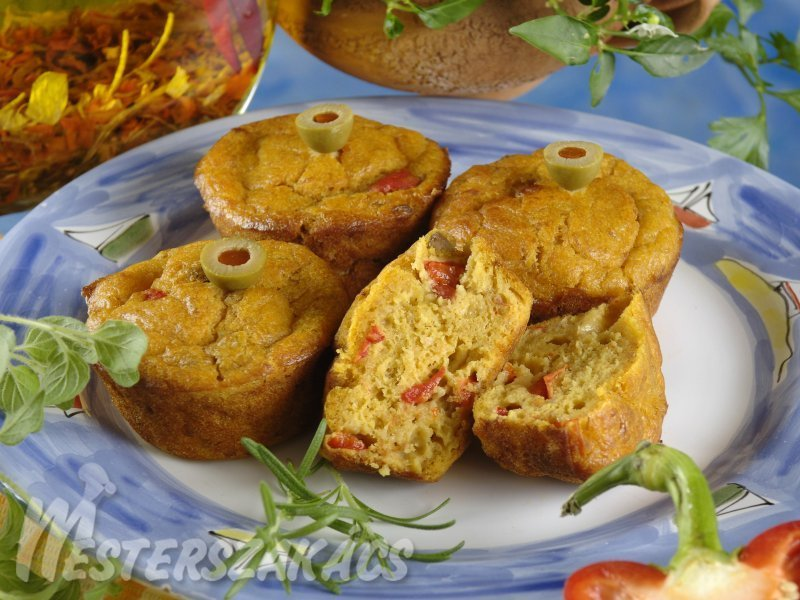 Tonhalas, paprikás muffin  recept