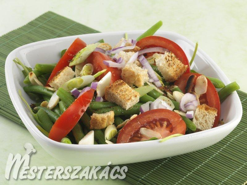 Újhagymás-rukkolás zöldbabsaláta recept