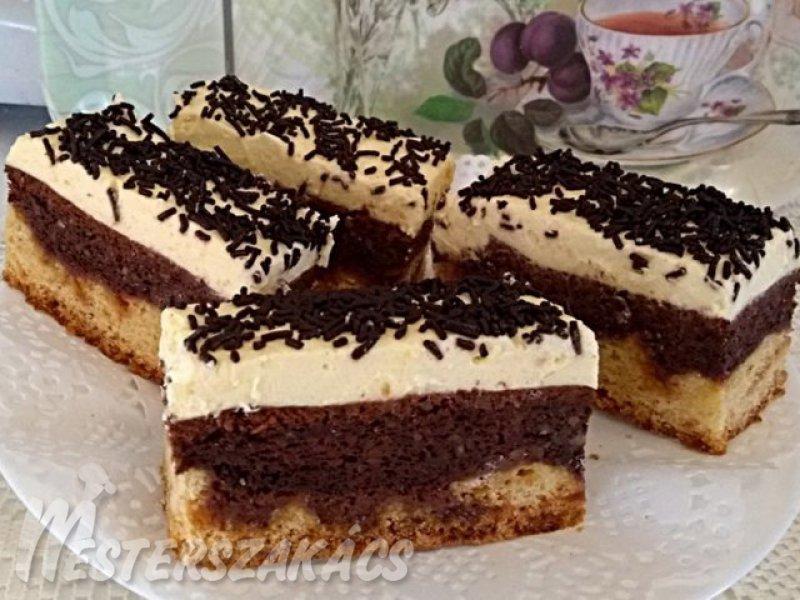 Vaníliás, csokis-diós szelet recept