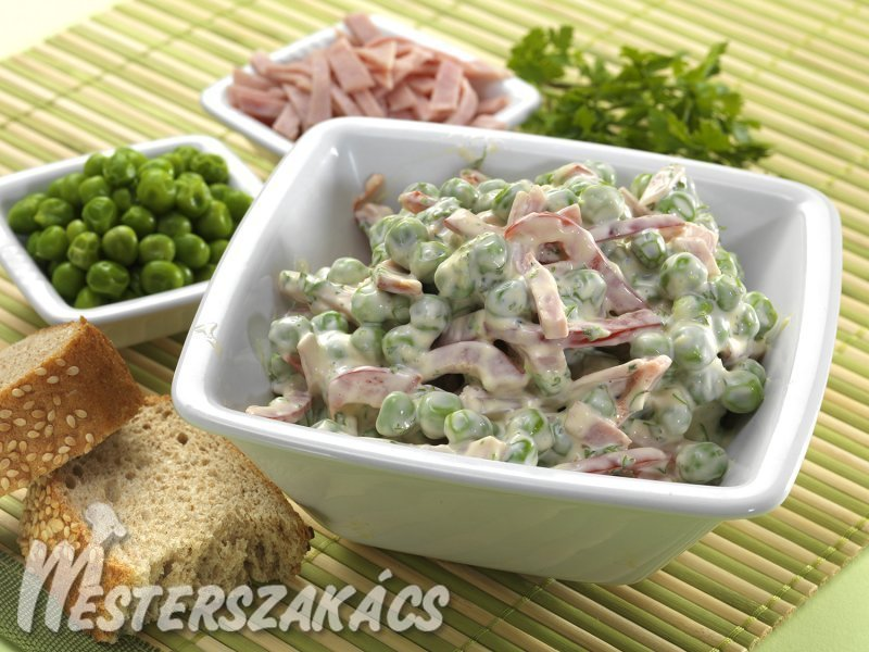 Zöldborsós sonkasaláta recept