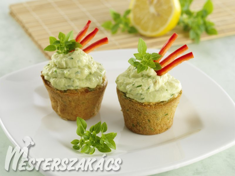 Zöldfűszeres muffin, majonézes avokádókrémmel töltve recept