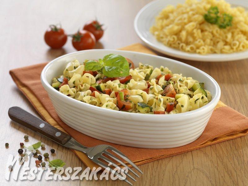 Zöldséges fodros csőtészta recept