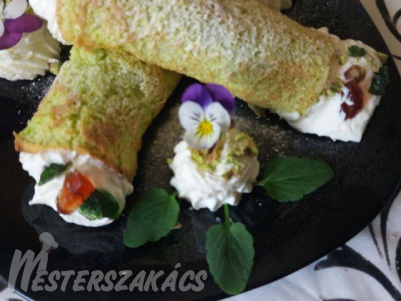 Zöldteás tekercs fehércsokis ganache-al recept